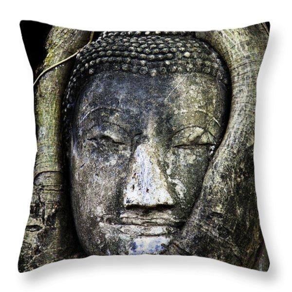 Buddha Head in Banyan Tree Throw Pillow by Adrian Evans