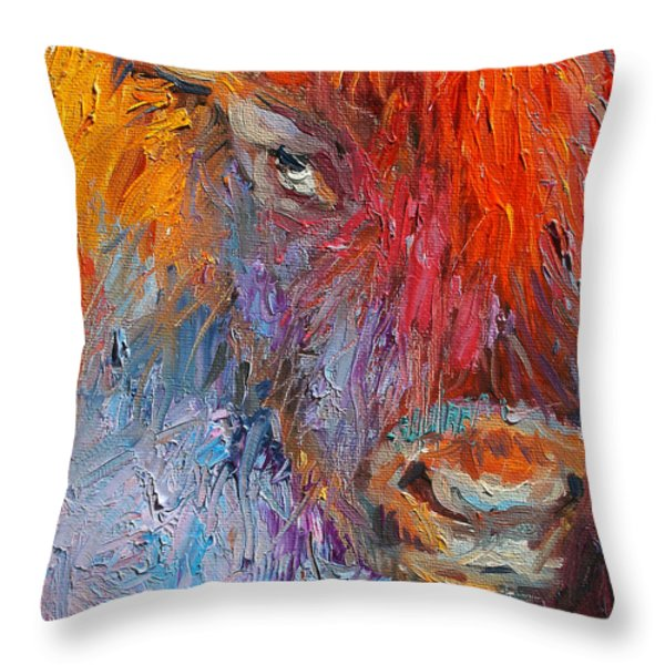 Buffalo Bison Wild Life Oil Painting Print Throw Pillow by Svetlana Novikova