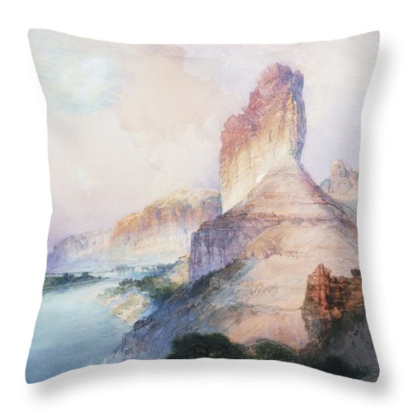 Butte Green River Wyoming Throw Pillow by Thomas Moran
