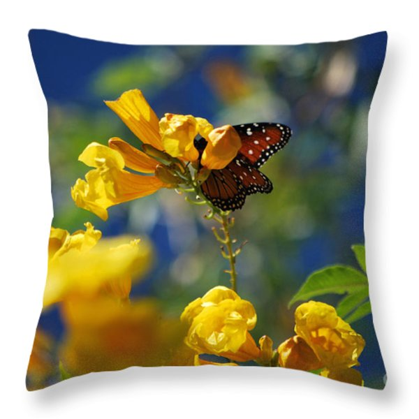 Butterfly Pollinating Flowers  Throw Pillow by Donna Greene
