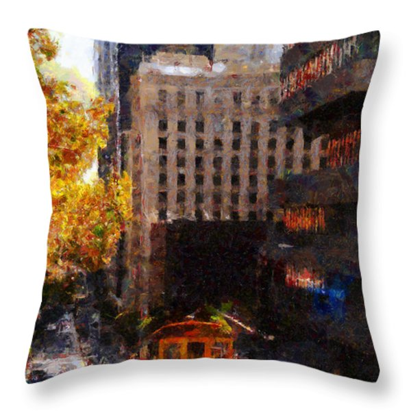 Cablecar on San Francisco California Street  . Painterly . 7D7176 Throw Pillow by Wingsdomain Art and Photography
