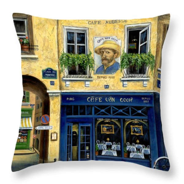 Cafe Van Gogh Throw Pillow by Marilyn Dunlap