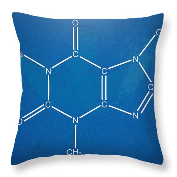 Caffeine Molecular Structure Blueprint Throw Pillow by Nikki Marie Smith
