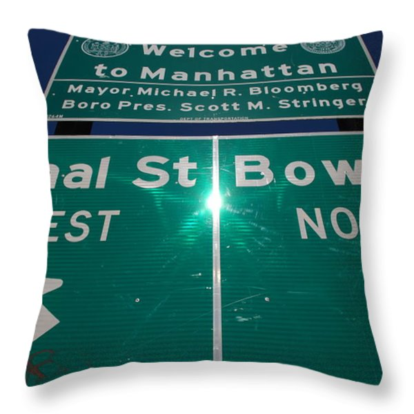Canal And Bowery Throw Pillow by Rob Hans