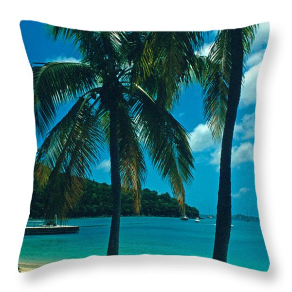 Caneel Bay Palms Throw Pillow by Kathy Yates