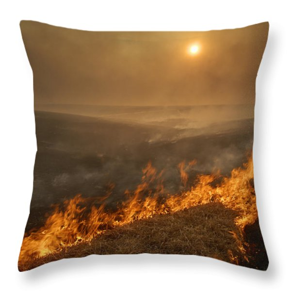 Carefully Managed Fires Sweep Throw Pillow by Jim Richardson