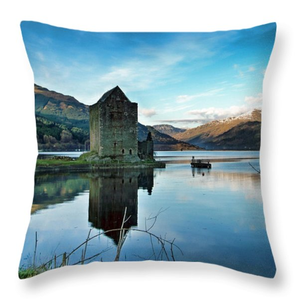 Castle On The Loch Throw Pillow by Lynn Bolt