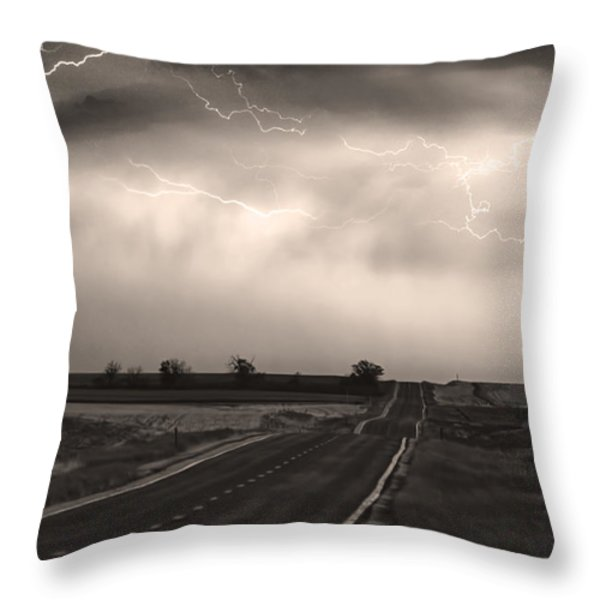 Chasing The Storm - County Rd 95 And Highway 52 - Co- Sepia Throw Pillow by James BO  Insogna