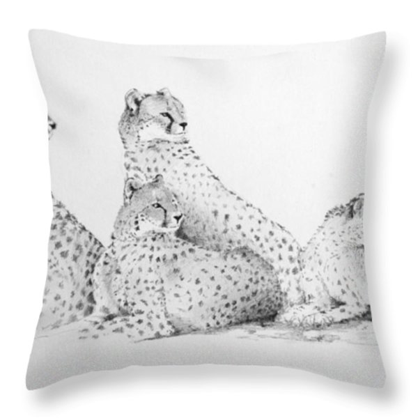Cheetah Group Throw Pillow by Alan Pickersgill