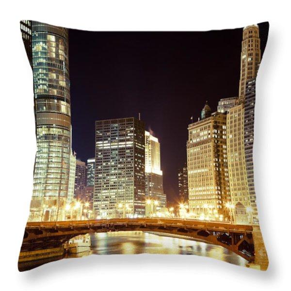 Chicago State Street Bridge At Night Throw Pillow by Paul Velgos