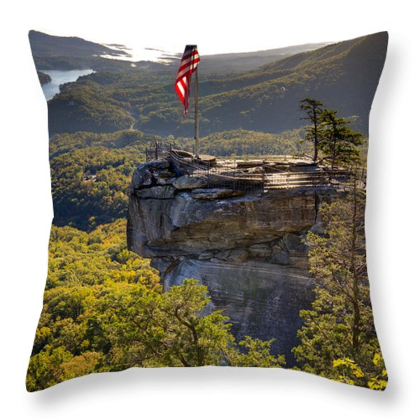 Chimney Rock State Park North Carolina Throw Pillow by Dustin K Ryan