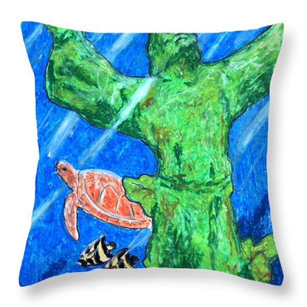 Christ Of The Deep Throw Pillow by William Depaula