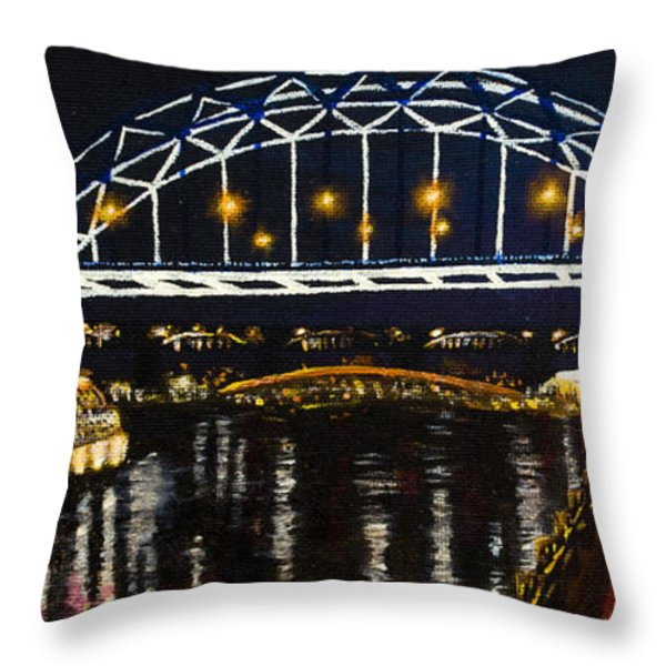 City At Night Throw Pillow by Svetlana Sewell