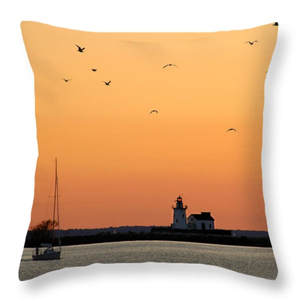 Cleveland Harbor Sunset Throw Pillow by Jon Holiday
