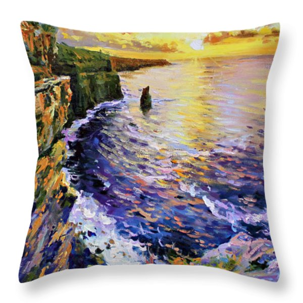 Cliffs Of Moher At Sunset Throw Pillow by Conor McGuire