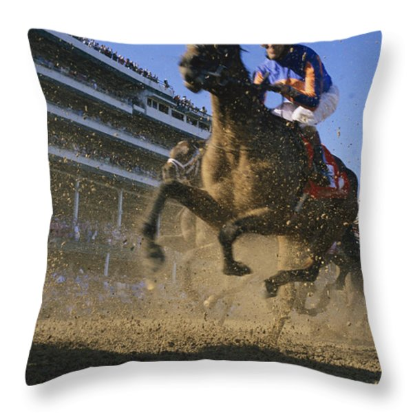 Close Action Shot Of Horses Racing Throw Pillow by Melissa Farlow