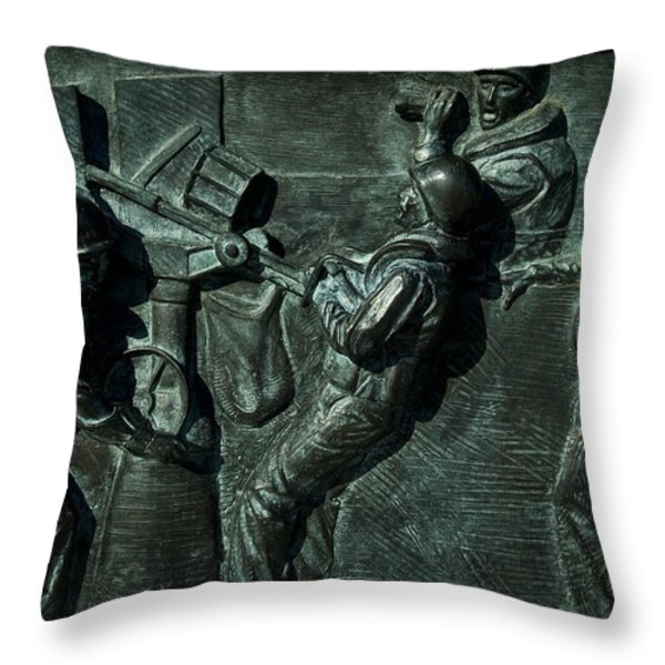 Close View Of Bronze Relief Sculpture Throw Pillow by Todd Gipstein