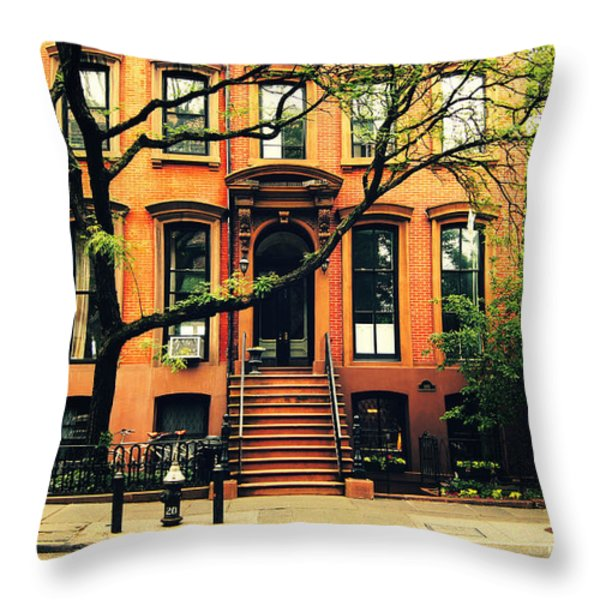 Cobble Hill Brownstones - Brooklyn - New York City Throw Pillow by Vivienne Gucwa