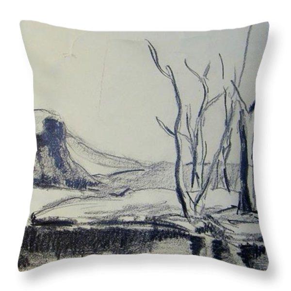Colorado Pencil Sketch Throw Pillow by Judith Redman