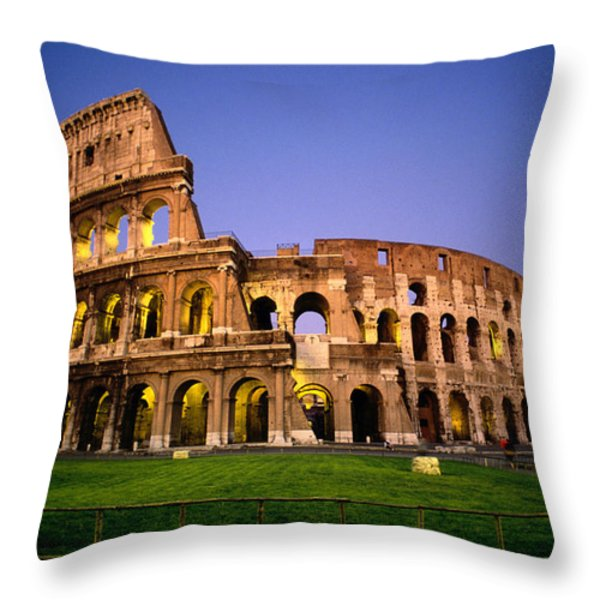 Colosseum At Night, Rome, Italy Throw Pillow by Richard Nowitz
