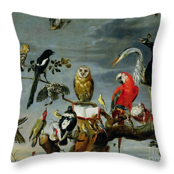 Concert Of Birds Throw Pillow by Frans Snijders