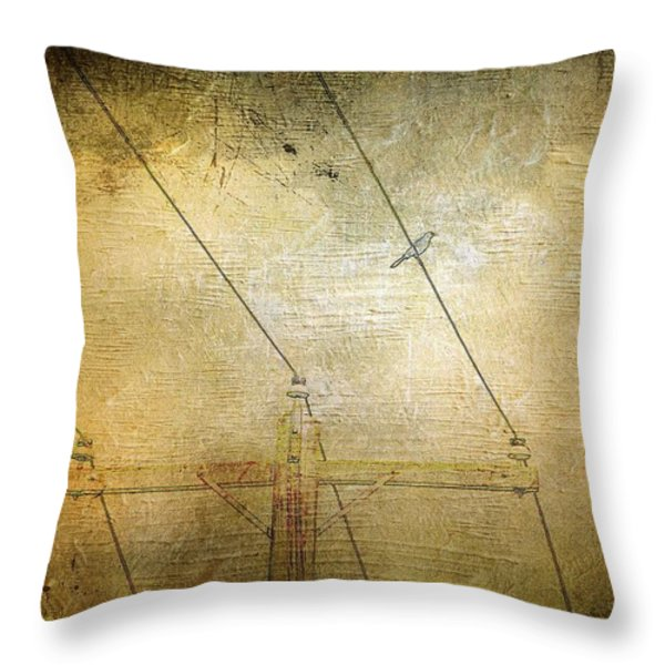 Cool Bird On A Hot Wire Throw Pillow by Jan Amiss Photography