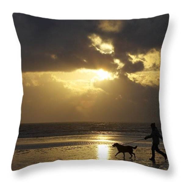 County Meath, Ireland Girl Walking Dog Throw Pillow by Peter McCabe