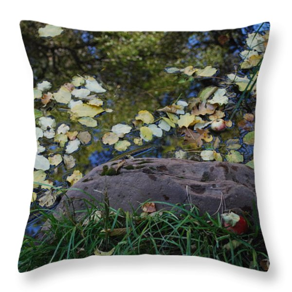 Crab Apple and Leaves Throw Pillow by Heather Kirk