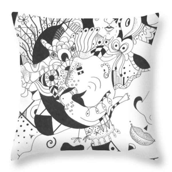 Creatures And Features Throw Pillow by Helena Tiainen