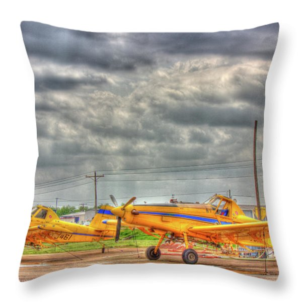 Crop Duster 003 Throw Pillow by Barry Jones