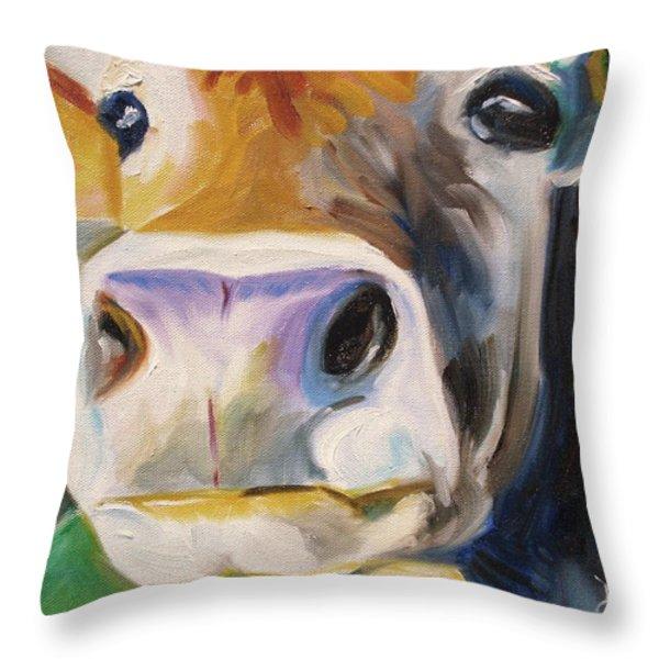 Curious Cow Throw Pillow by Donna Tuten