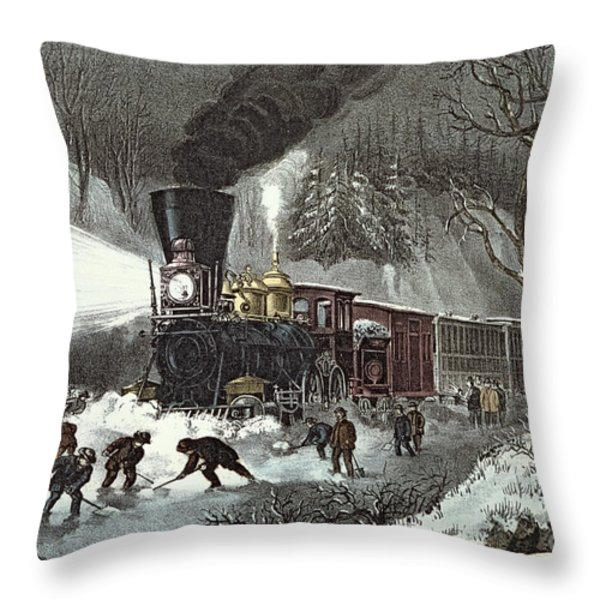 Currier And Ives Throw Pillow by American Railroad Scene