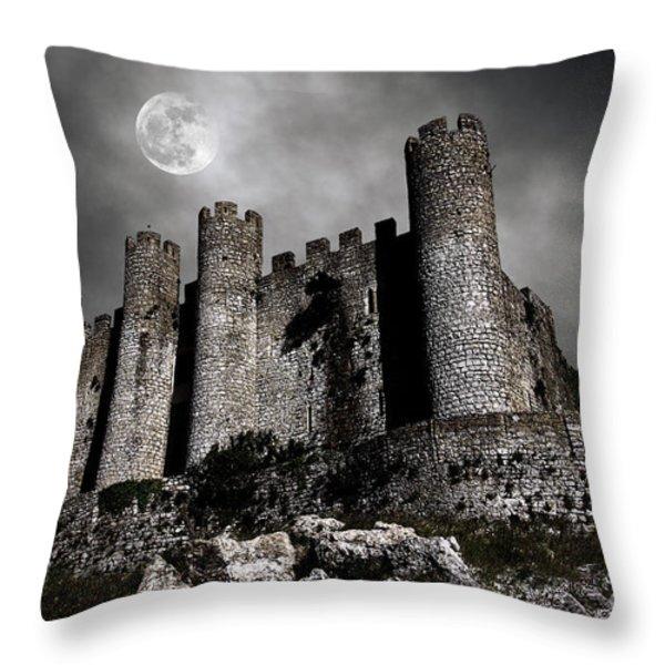 Dark Castle Throw Pillow by Carlos Caetano