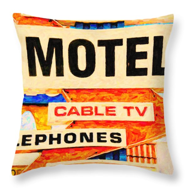 Deanos Motel Throw Pillow by Wingsdomain Art and Photography