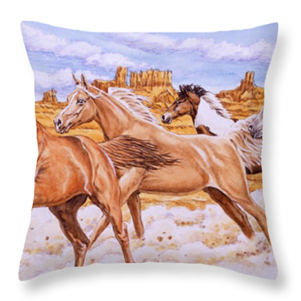 Desert Run Throw Pillow by Richard De Wolfe