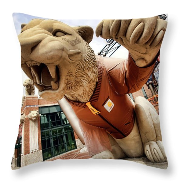 Detroit Tigers Tiger Statue Outside Of Comerica Park Detroit Michigan Throw Pillow by Gordon Dean II