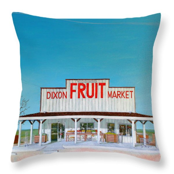 Dixon Fruit Market 1992 Throw Pillow by Wingsdomain Art and Photography