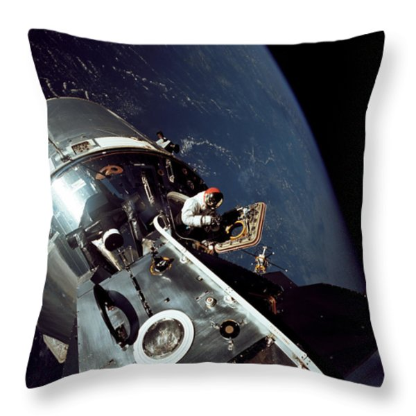 Docked Apollo 9 Command And Service Throw Pillow by Stocktrek Images