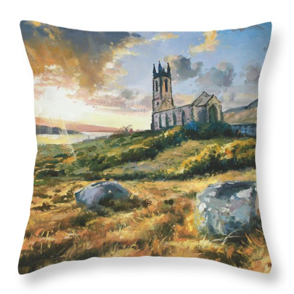 Dunlewy Church Throw Pillow by Conor McGuire