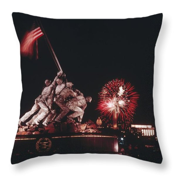 During Independence Day Celebrations Throw Pillow by Joseph H. Bailey