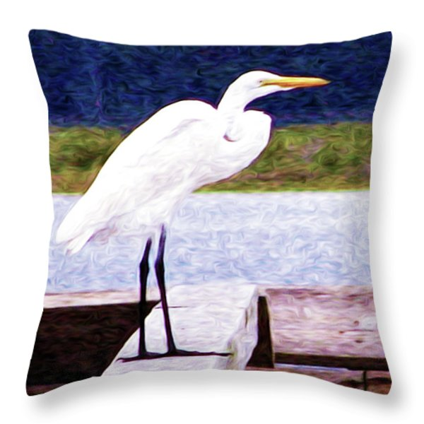 Egretful Morning Throw Pillow by Laura Brightwood