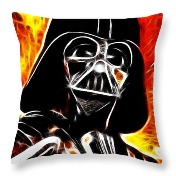 Electric Darth Vader Throw Pillow by Paul Van Scott
