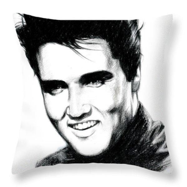 Elvis Throw Pillow by Lin Petershagen