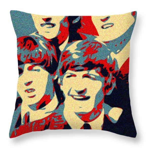 Fab Four Throw Pillow by Paul Van Scott