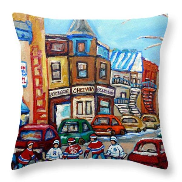 Fairmount Bagel And Hockey Throw Pillow by Carole Spandau
