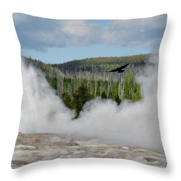 Falcon Over Old Faithful - Geyser Yellowstone National Park Wy Usa Throw Pillow by Christine Till