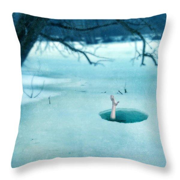 Fallen Through The Ice Throw Pillow by Jill Battaglia