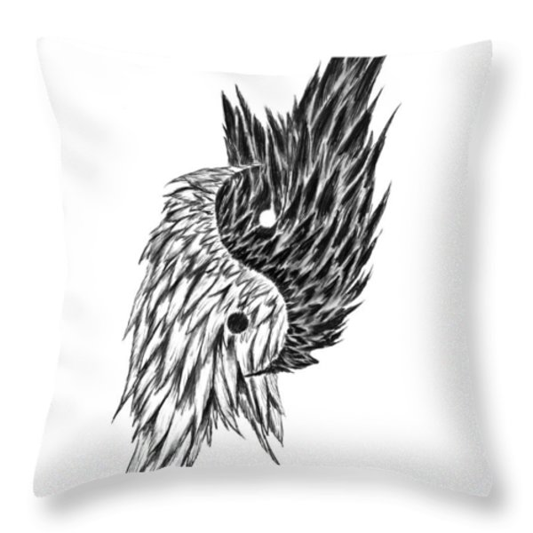 Feathered Ying Yang  Throw Pillow by Peter Piatt