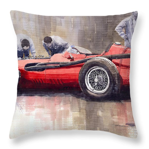 Final Check Before The Start Maserati 250 F 1957 Throw Pillow by Yuriy  Shevchuk