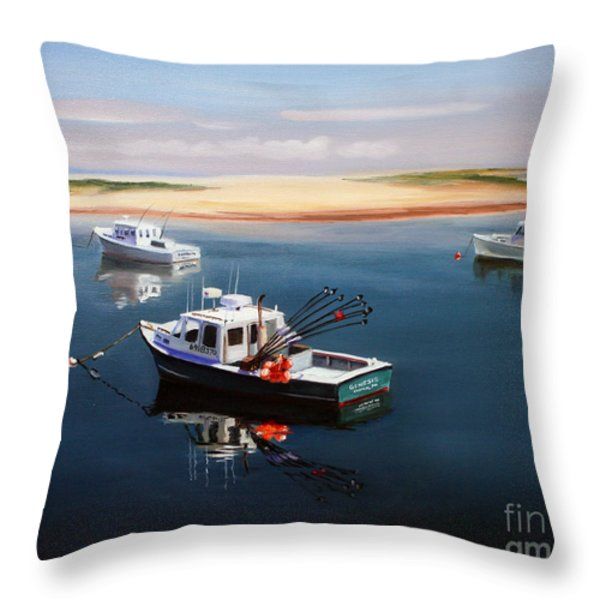 Fishing Boats-cape Cod Throw Pillow by Paul Walsh
